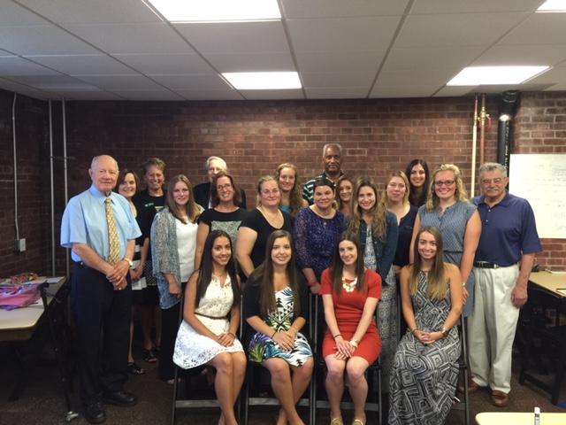 MSMC students with Professor Bixler, Sen. Larkin, Bill Kaplan, Mr. Higgins, Mr. Smith, and Community Foundation's Karen Minogue