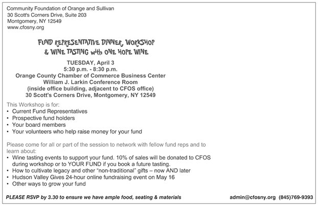 Donor Fund Workshop ~ Spring into action! Come learn how to GROW your fund! @ Orange County Chamber of Commerce Business Center | Montgomery | New York | United States
